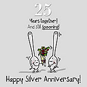 25th Wedding Anniversary Greetings Card - Silver Anniversary