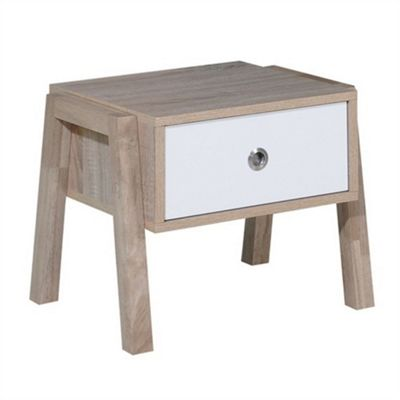 Modern Designer Side Table - Oak & White