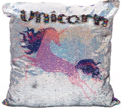 Pink Unicorn Sequin Cushion