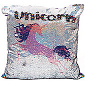 Pink Unicorn Sequin Cushion