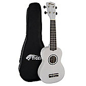 Tiger White Beginner Soprano Ukulele with Bag