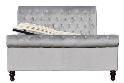 Lambeth Ottoman Grey Velvet Upholstered Sleigh Double Bed Frame