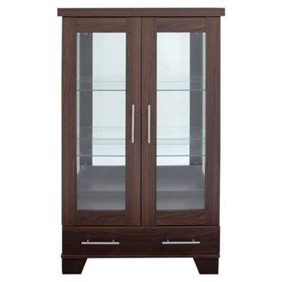 Caxton Royale 2 Door 1 Drawer Display Cabinet in Dark Oak