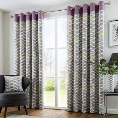Fusion Copeland Heather Eyelet Curtains - 46x54 Inches (117x137cm)