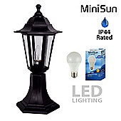 Traditional Style Outdoor Post Top LED Garden Light in Black