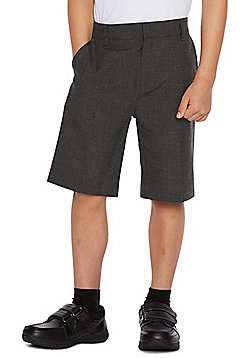 F&F School 2 Pack of Boys Flat Front Shorts - Grey