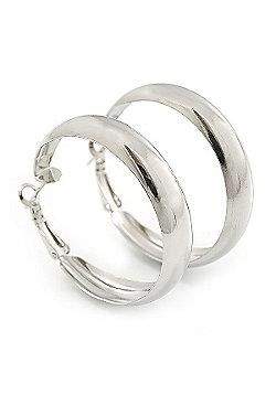 Small Polished Silver Plated Hoop Earrings - 4cm Diameter