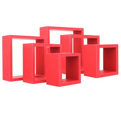 Square Floating Wooden Wall Storage Display Shelves 3 Sizes Red Set of 6