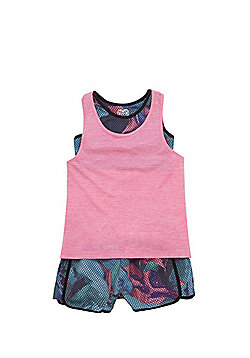 F&F Active Mesh Vest, Crop Top and Shorts Set - Multi