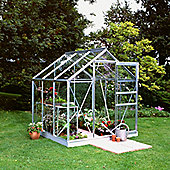Halls 6X6 Popular Aluminium Greenhouse + Aluminium Base-frame - Horticultural Glass