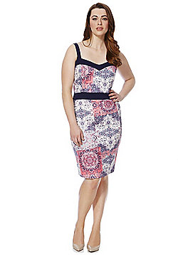 Sienna Couture Patchwork Tile Print Plus Size Bodycon Dress - Multi