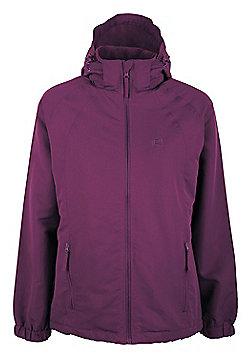 Alpes Womens Winter Water-Resistant Fleece Lined Hooded Lightweight Jacket Coat - Purple