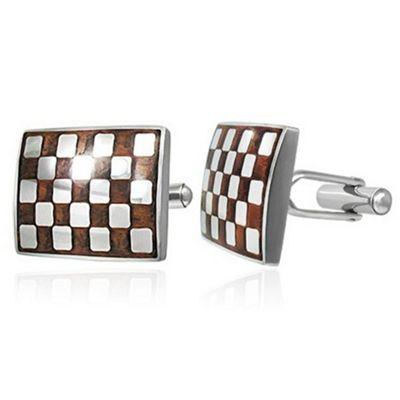 Urban Male Stainless Steel Brown Checkerboard Cufflinks