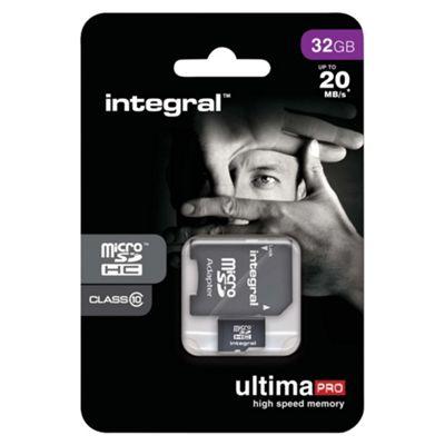 Integral microSDHC 32GB Class 10 Card + SD Adapter