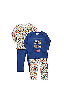 DC Comics 2 Pack of Justice League Pyjamas - Multi Blue