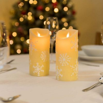 2x Snowflake Flickering Flame LED Christmas Candles (Cream)