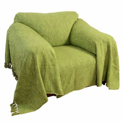 Homescapes Nirvana Slub Cotton Lime Green Throw, 225 x 255 cm