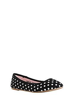 F&F Polka Dot Canvas Ballerina Pumps - Black