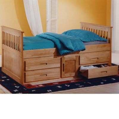 Happy Beds Captains Wood Storage Bed with Open Coil Spring Mattress - Waxed Pine - 3ft Single
