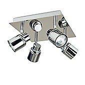 Benton 4 Way Square Plate Ceiling Spotlight Chrome
