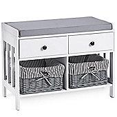 VonHaus 2 Drawer Hall Storage Seat White & Grey – Seat, 2 Drawers & 2 Baskets