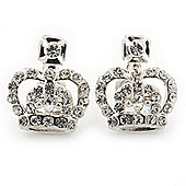 Small Clear Crystal 'Crown' Stud Earrings In Silver Tone - 16mm Length