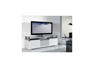 Triskom Wooden TV Stand for LCD / Plasmas with Four Shelves - White Glass
