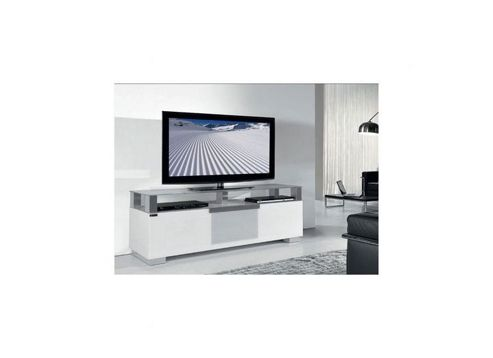 Triskom Wooden TV Stand for LCD / Plasmas with Four Shelves - White Glass
