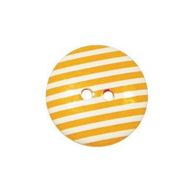 Hemline Two Hole Cream Striped Buttons 22.5mm 3pk