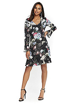 Wallis Dropped Waist Floral Dress - Black & Multi
