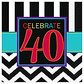 40th Birthday Beverage Napkins - 2ply Paper - 16 Pack