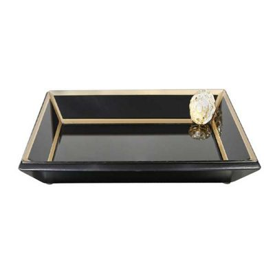 Black And Gold Isla Mirror Tray With Brooch Decoration (34cm)