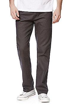 F&F Linen Blend Straight Leg Trousers - Charcoal