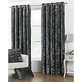 Riva Home Pewter Crushed Velvet Verona Eyelet Curtains 90x90 Inches (229x229cm)