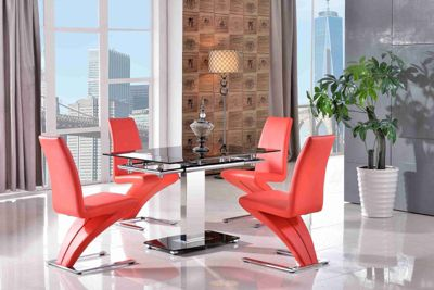 Enzo Black Glass and Stainless Steel Extending 80 - 120 cm Dining Table with 6 Red Zed Chairs