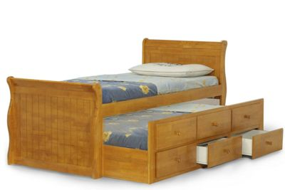 Wilmslow Oak Wooden Captain Bed With Guest Bed