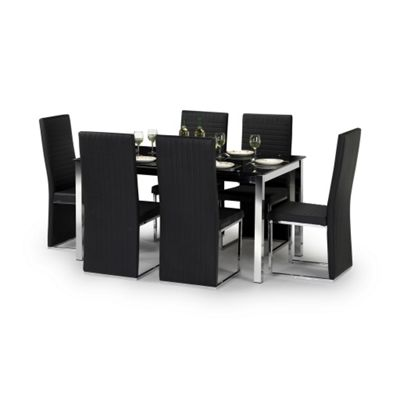 Black Glass Dining Set - Table + 4 Chairs