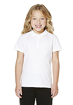F&F School 2 Pack of Girls Teflon® Stain Resistant Polo Shirts with As New Technology - White