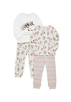 F&F 2 Pack of Floral and Hedgehog Print Pyjamas - Pink