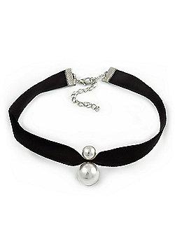 Black Velour Choker Necklace with Double Pearl Bead 15mm/ 10mm Pendant - 29cm L/ 6cm Ext