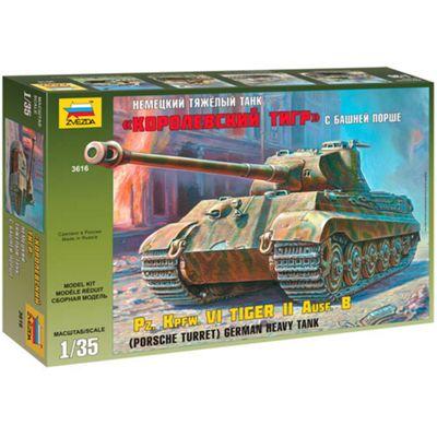 ZVESDA 3616 German Heavy Tank Tiger Porsche Turret 1:35 Tank Model Kit