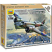 Zvezda Bristol Blenheim Mkiv Wwii Bomber 1:200 Snap Fit Aircraft Model Kit