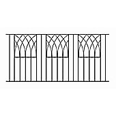 Wrought Iron Style Modern Metal Fence Panels, 3 pack, 183x81cm