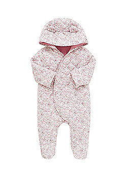 F&F Floral Print Hooded Quilted Pramsuit - Pink