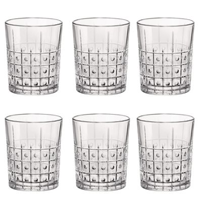 Bormioli Rocco Este Vintage Cut Glass Double Old Fashioned Tumblers - 390ml - Pack of 6