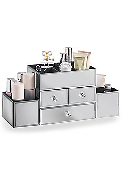 Beautify 3 Drawer Mirrored Glass Jewellery Box Makeup Display Organiser Case