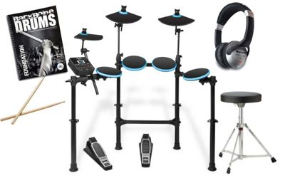 Alesis DM Lite Electronic 5 Piece Drum Kit With Stool, Sticks, Headphones And Free Backbone Tutorial Book & CD