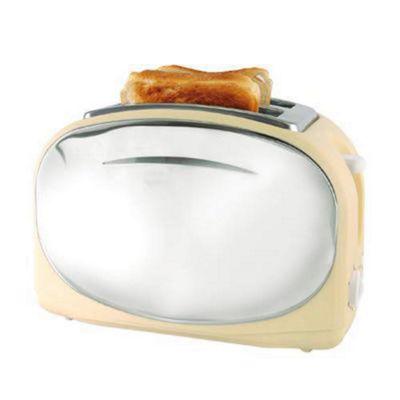 Lloytron E2013CR Wide Slot 2 Slice 1050w Polished Steel Panel Toaster - Cream