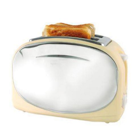 Lloytron E2013CR Wide Slot 2 Slice 1050w Polished Steel Panel Toaster - Cream