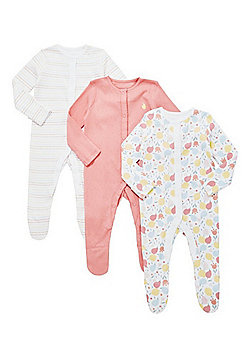F&F 3 Pack of Blossom and Pointelle Sleepsuits - Pink